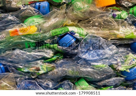 Crushed PET-bottles  - stock photo