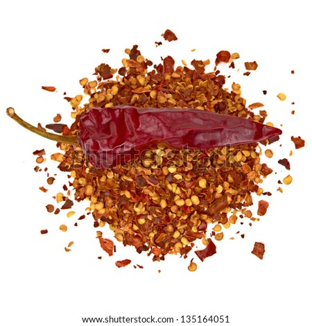 Crushed pimienta roja red pepper pile on white background