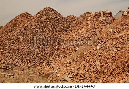 Crushed pound stone mound quarry - stock photo