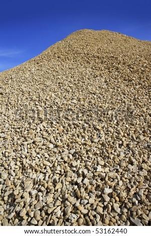 crushed pound stone mound quarry open blue sky - stock photo