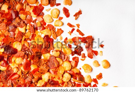 Crushed red chili peppers close up macro, used for cooking - stock photo