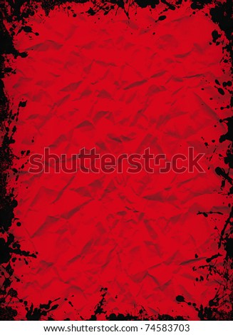 crushed red sheet with grunge black ink frame - stock photo