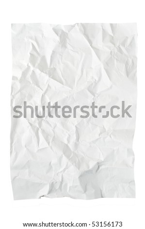 Crushed textured paper isolated on a white - stock photo