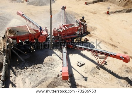 Crusher plant to manufacture graded stone sizes for building - stock photo