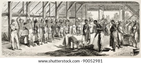 Crushing coffee in Suriname, old illustration. Created by Worms after Bray, published on L'Illustration, Journal Universel, Paris, 185 - stock photo