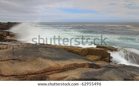 Crushing waves at Acadia national park - stock photo