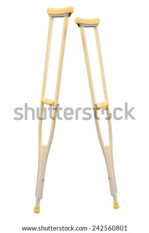 crutch for rehabilitation isolated under the white background - stock photo