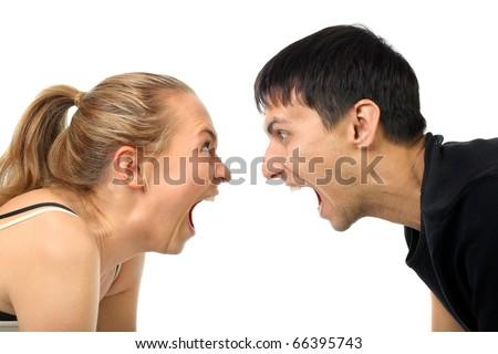 cry happy couple isolated background - stock photo