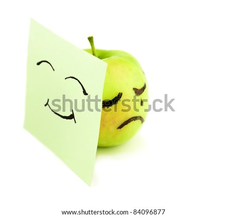 Crying apple on white. Concept - stock photo