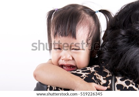 Crying Asian baby girl