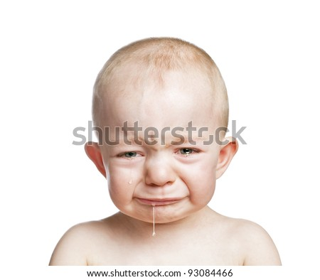 crying baby boy isolated - stock photo