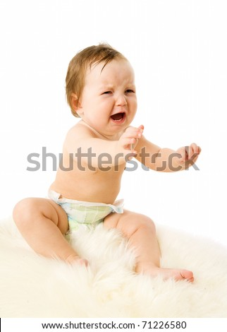 Crying baby girl asking for mother isolated on white - stock photo