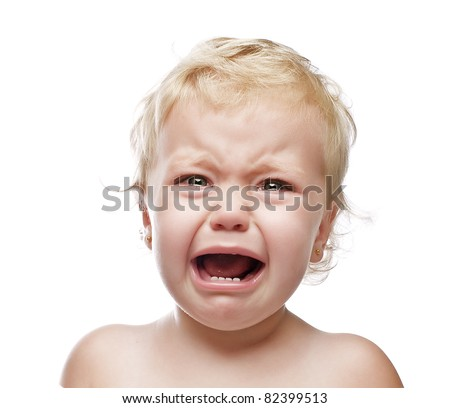 crying baby girl isolated