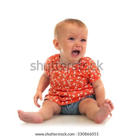crying baby girl isolated on white - stock photo