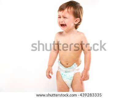 crying baby in a diaper on a white background