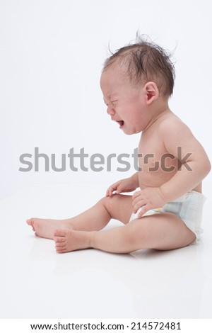 Crying baby isolated om white background  - stock photo