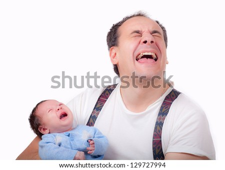 crying baby with a father