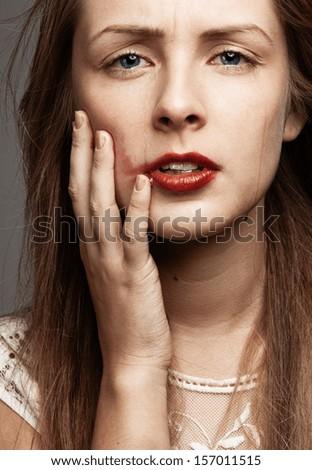 Crying Beauty Girl. Beautiful Model Woman Cry. Tears - stock photo