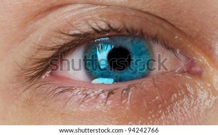 crying blue eye - stock photo