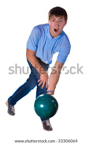 Crying bowler with the green ball. Isolated on white. - stock photo