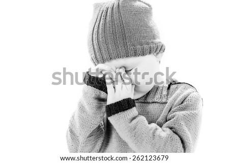 crying boy portrait isolated on white background - stock photo