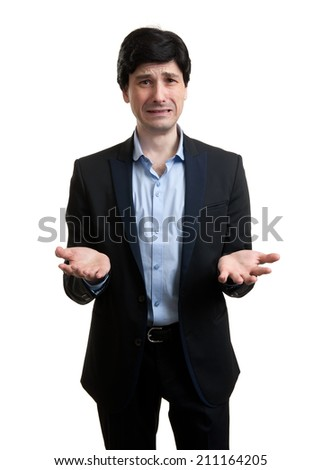 crying businessman isolated on a white background