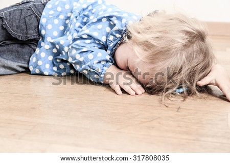 crying child, concept of depression and sadness - stock photo
