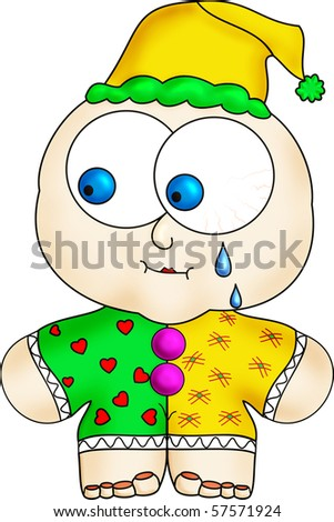 crying clown in a yellow and green tights - stock photo