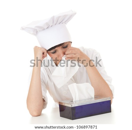 crying cook woman with tissues, white background - stock photo