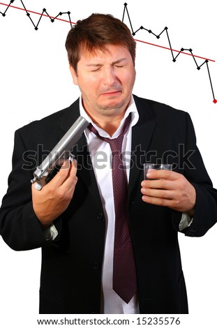 Crying drunk businessman committing suicide due to the stock exchange crash (conceptual) - stock photo