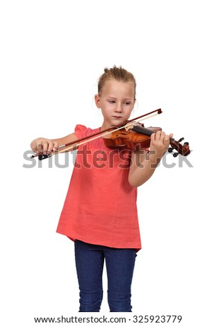 crying girl with violin on white background