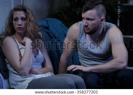 Crying hurted woman and violnce at home - stock photo