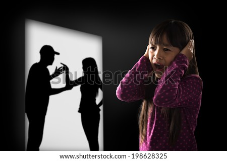 Crying illtle asian girl with her fighting parents in the background, Domestic violence concept - stock photo