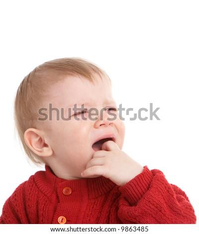 crying kid. isolated on white - stock photo