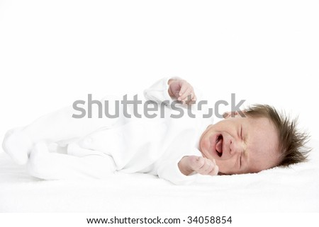 Crying Newborn Baby - stock photo