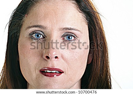 crying woman isolated on white