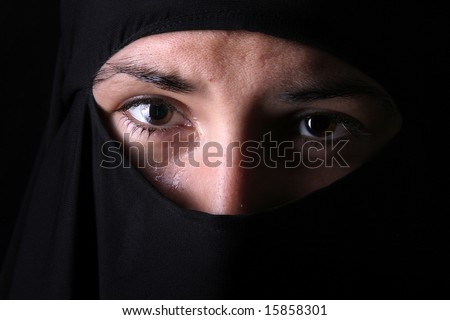 crying young lady with black hijab