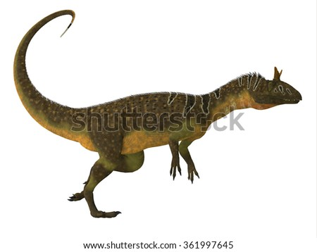 Cryolophosaurus Dinosaur Side View - Cryolophosaurus was a large theropod carnivorous dinosaur that lived in Antarctica during the Jurassic Period.