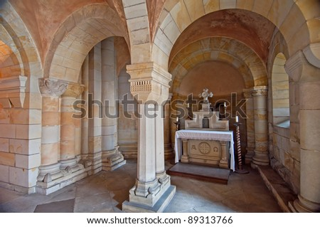 Crypt of the Praemonstratensian convent in Doksany (Czech Republic), that was founded in 1144-1145 by Gertrude, the wife of the Czech king Vladislav II. - stock photo