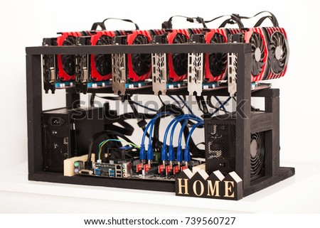 Cryptocurrency Background Mining Rig Close Up Of Array GPUs For