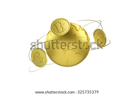Cryptocurrency. Bitcoin exchange for euros and dollar. Arrows around planet earth and world currency. Path included. - stock photo