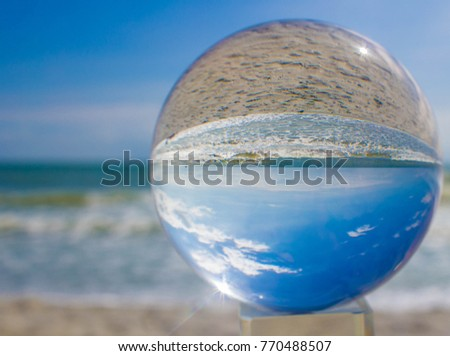 Crystal Ball Beach Photography With Bright Blue Skies And White Clouds. Garden  City Beach,