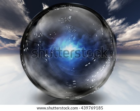 Crystal Ball 3D Render - stock photo