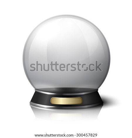 Crystal ball for fortune tellers. Isolated on white background with reflection.
