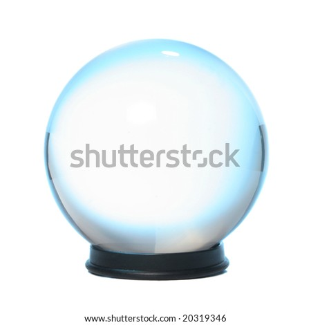 Crystal ball fringed with blue light - stock photo