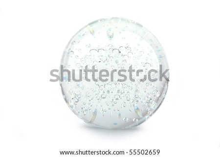Crystal ball isolated on white - stock photo