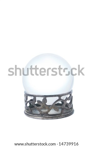 Crystal ball on stand isolated on a white background
