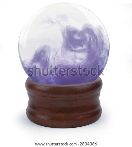 Crystal ball on white background with purple cloud - stock photo