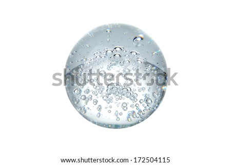 Crystal ball with bubbles isolated on white - stock photo