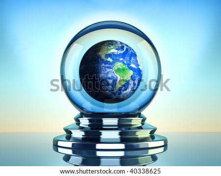 Crystal ball  with Earth globe inside - 3d render - stock photo